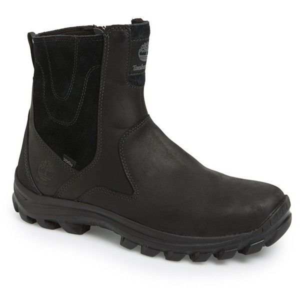 Men's Timberland 'Chillberg' Waterproof Boot ($135) ❤ liked on Polyvore featuring men's fashion, men's shoes, men's boots, men's work boots, black, mens slip on work boots, timberland mens boots, mens boots, mens waterproof boots and mens black boots