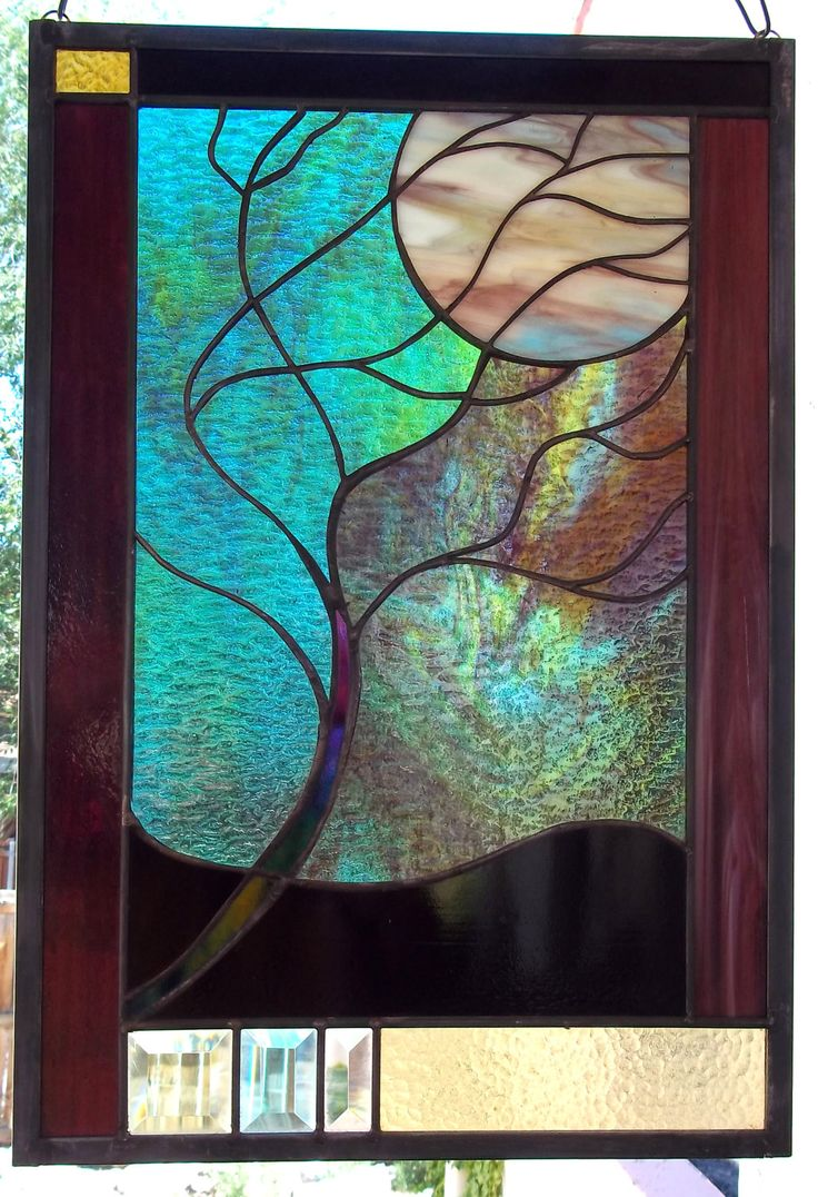 Stained glass window panel moonlit tree stormy night - Stained glass window designs ...