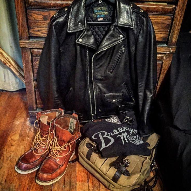 Ready for some cooler weather.. #schott #schottperfecto #perfecto #519 #onestar #leather #jacket #myredwings #redwingheritage #redwing #877 #boots #filson #rucksack #filsonlife #canvas #bridleleather #brass #brooklynmotors #madeinusa #americanmade #classic #original #vintage #usa #menswear by bentonlawsonmusic