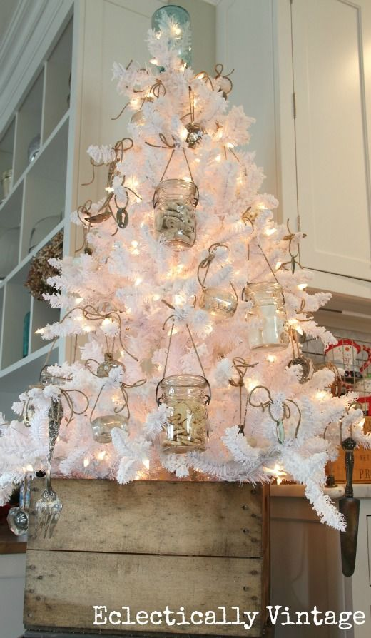 White Christmas Tree in the Kitchen - love th mason jar ornaments