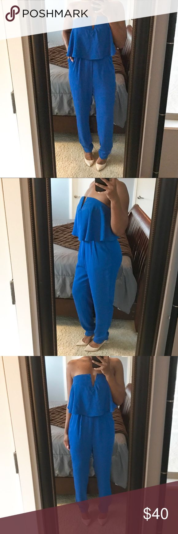 Semi Casual Jumpsuit!! Beautiful cobalt blue jumpsuit featuring a draped bodice with low v design, functioning side pockets, and a concealed back zip!! Perfect for someone with heavier bust! NWT! Pants Jumpsuits & Rompers