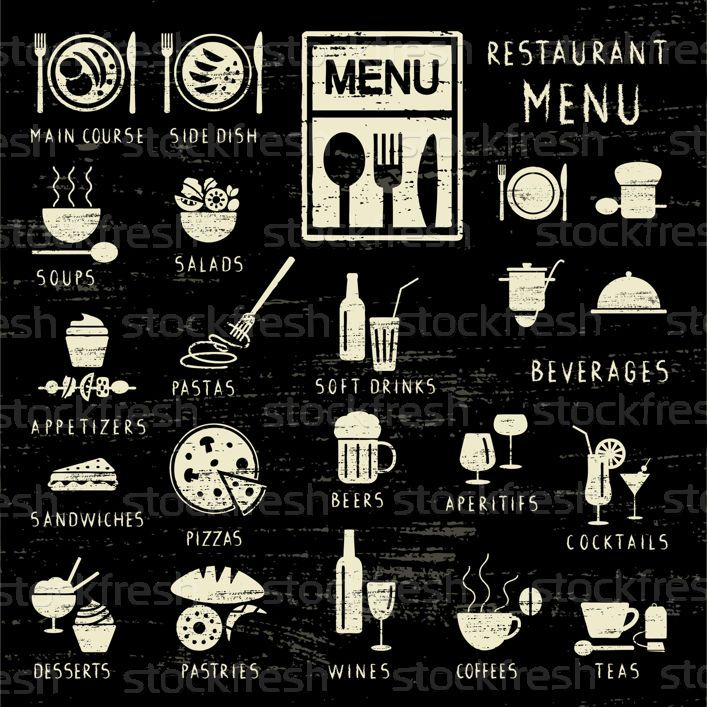 Scratched restaurant menu elements on blackboard vector illustration © Aleksandra Novakovic (sanjanovakovic) (#2978379) | Stockfresh