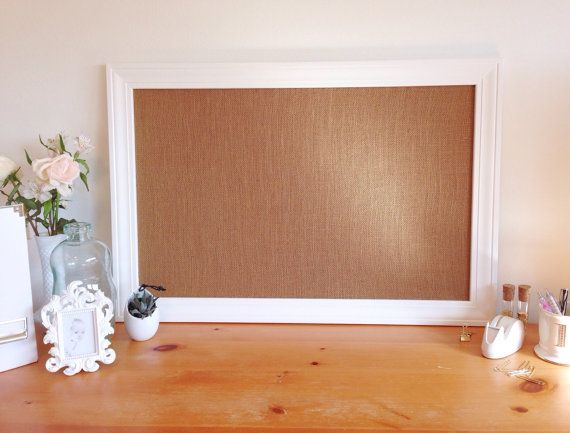 Large Framed Burlap Bulletin Board, Memo Board, Office Decor, Command Center, Kitchen Bulletin Board, White, Black, Organizing Wall Hanging
