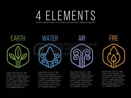 Naturaleza 4 elementos del c rculo logotipo de la muestra Agua fuego tierra aire el hex gono Foto de archivo