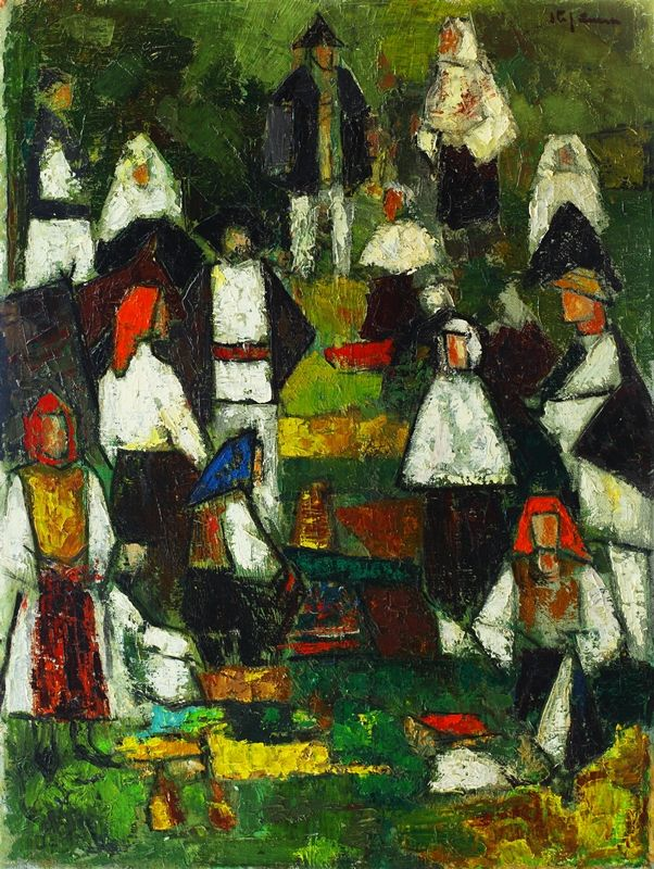George Ştefănescu-Râmnic's father, Gheorghe, a merchant, descended from a Macedonian family originating from Serbian Bitola. The name Ştefănescu first belonged to artist's great-grandfather, priest Stefan from Skopje.  Painter's destiny was forged during his school-years spent at Râmnicul Sărat; then, between 1933 and his mobilization on the front, the advice he received from masters Ion Theodorescu-Sion, Lucian Grigorescu and especially Nicolae Dărăscu mattered a lot. The latter, a palette…