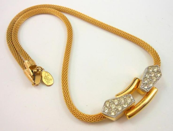 """Vintage Rhinestone Mesh Necklace Gold Tone by Diane Von Furstenberg DVF 15""""L #DianeVonFurstenberg #Choker"""