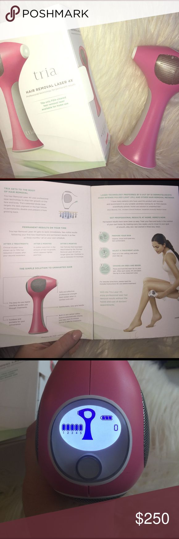 At Home Laser Hair Remover | Tria Beauty This is a laser hair removal system for at home use. It removes unwanted hair. This is a permanent hair removal product. Personally I only used this for my face but the box says you can use it on (legs, arms, bikini line, underarms, feet; hands, chest, back, stomach, cheek line and downward for your face). I have had actual laser treatment from a dermatologist office before doing this and it has the same effect and feeling. Intensity setting 1-5…