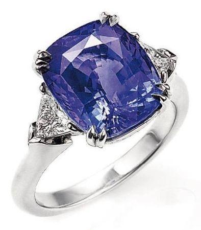 Harry Winston cushion-cut purple sapphire.