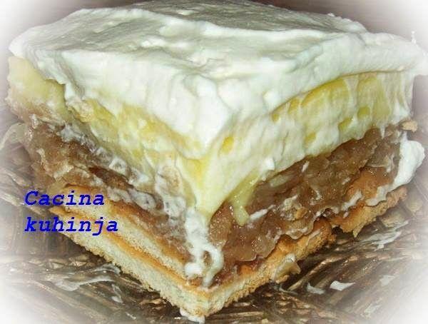 Cacina kuhinja: Posni kolac sa keksom, jabukama i pudingom