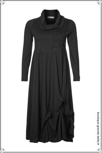 robe hiver manches longues et col roul en jersey fluide mode femme ronde qui affine du 44 au. Black Bedroom Furniture Sets. Home Design Ideas