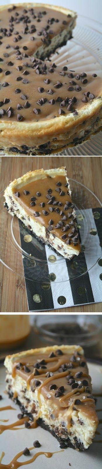 Salted Caramel Chocolate Chip Cheesecake