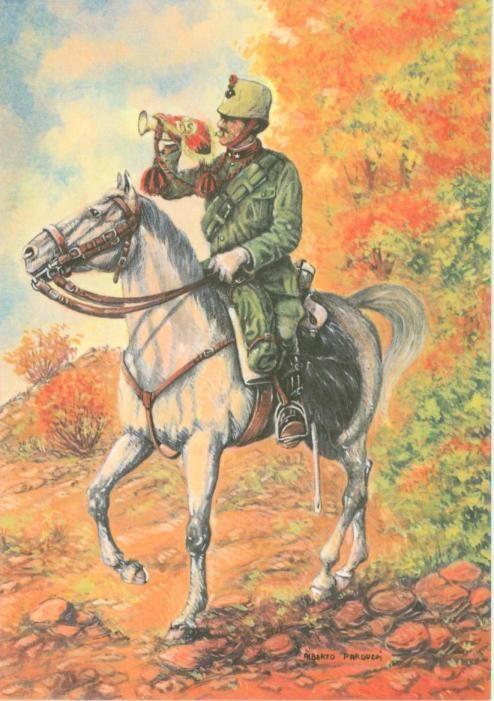 Regio Esercito - Cavalleria, Cavalleggeri di Lodi, Trombettiere, 1915