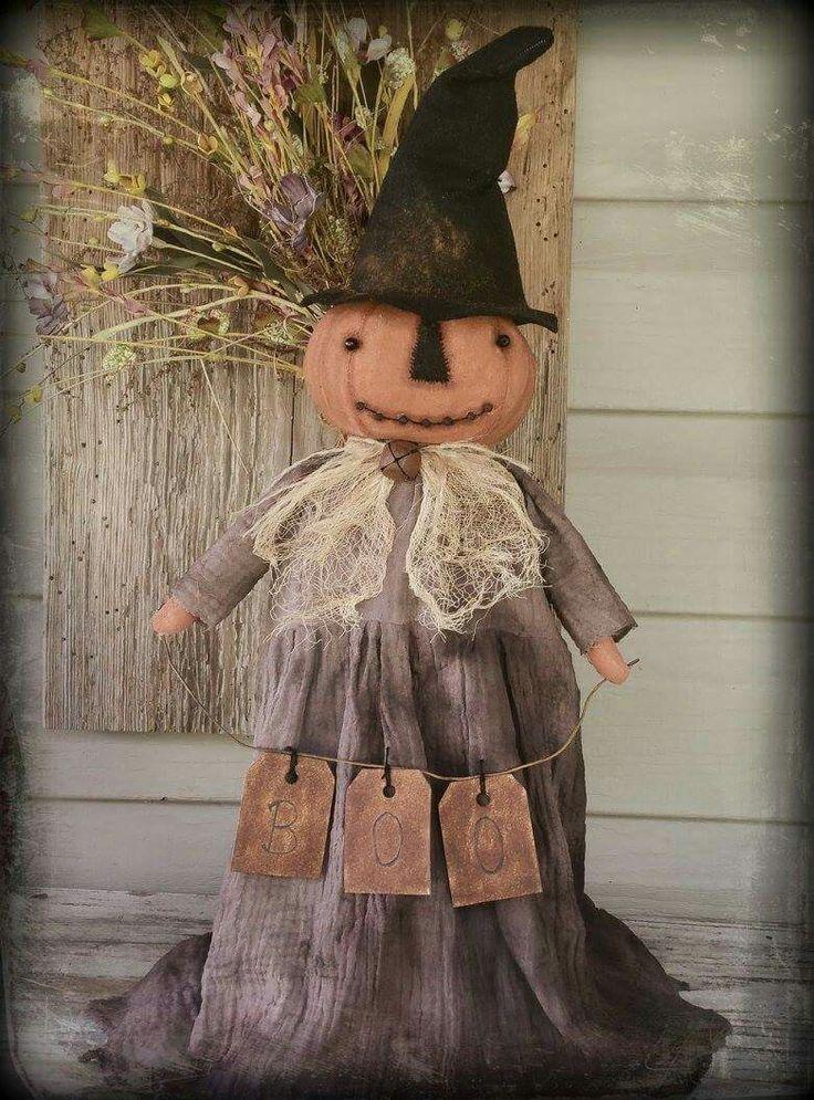 Primitive witch pumpkin doll Halloween boo