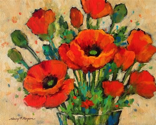 "Daily Paintworks - ""Poppy Bouquet "" - Original Fine Art for Sale - © Nancy F. Morgan"