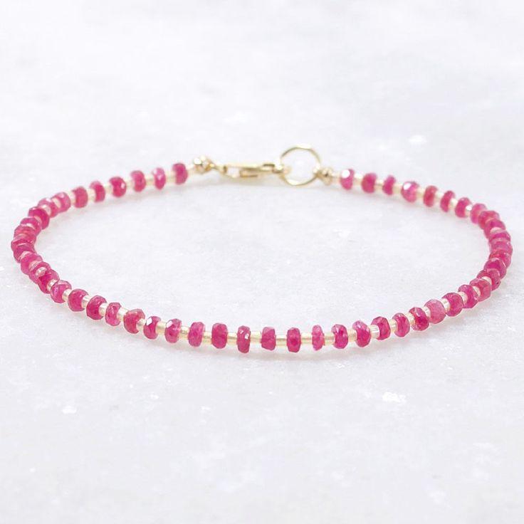 Pink Sapphire Gemstone Bracelet 14k Gold Filled #Handmade #Beaded