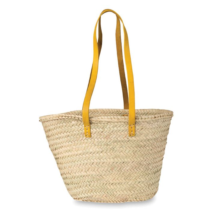 Moroccan Tote Basket w/Long Leather Handles | Citta Design $39.90