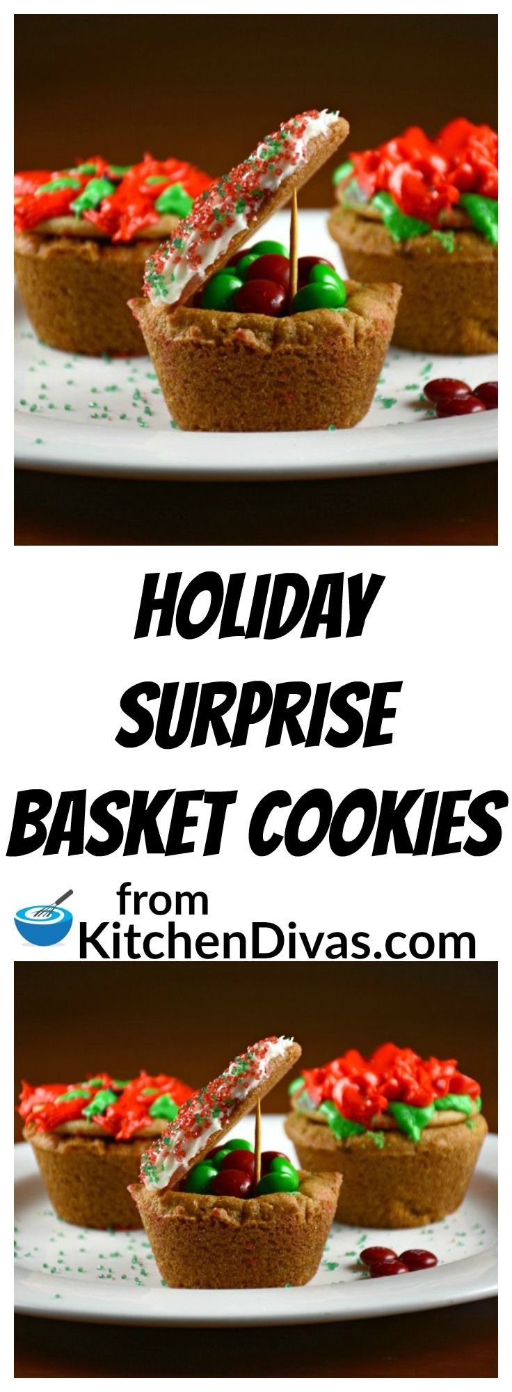 These Holiday Surprise Basket Cookies are so versatile! They can be filled with anything and decorated in so many ways. Every year we hide something different inside for Christmas morning. The kids decorated them, they just didn't know what was going to be put inside them! Most families leave cookies for Santa and we left him one of these! These cookies are delicious.