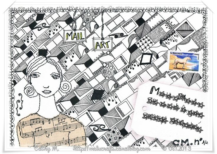 Mail Art Zentangle et Free motion stitching