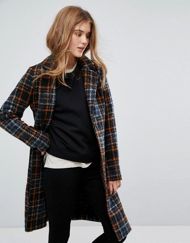 Only Long Check Coat with Belt - Multi