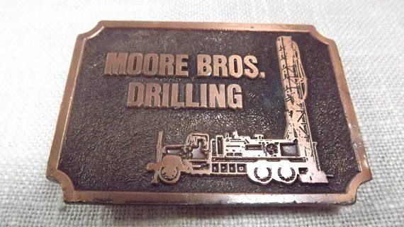 Vintage Moore Bros. Drilling Belt Buckle Vintage Oil and Gas