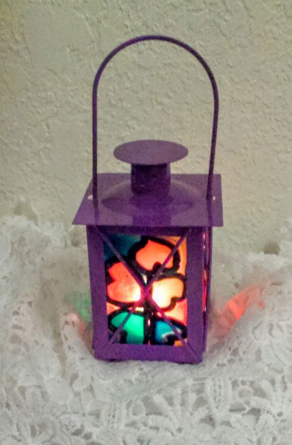 Purple lantern stain glasspolymer clay lantern by Merriebethplace