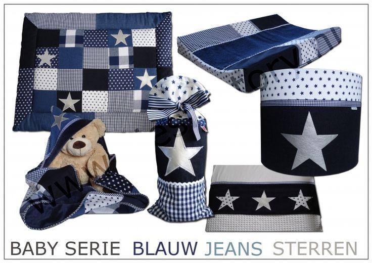 Babykamer / babyserie donkerblauw, jeans (spijkerstof), wit met zilveren sterren