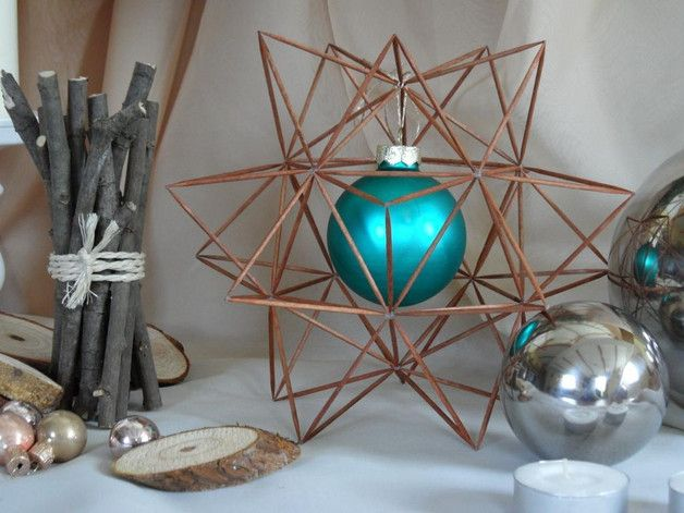 Weihnachtsdeko - Zahnstocher-Stern dunkel mit Kugel (türkis) - ein Designerstück von Iksnibiks bei DaWanda