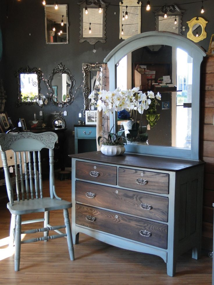 This small oak dresser has been stained dark on the top and drawers, the case painted in a subtle sea-glass color and the coolest pulls EVER in aged Nickel. Mirror is separate and kinda big for this piece but I think it works! Oak side chair also in Sea-glass, all pieces distressed and glazed in Java. Modern Vintage