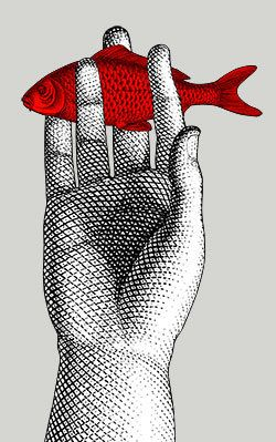 Hand & fish by Piero Fornasetti.
