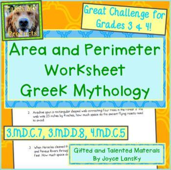Area, Perimeter, & Greek Mythology Word Problems