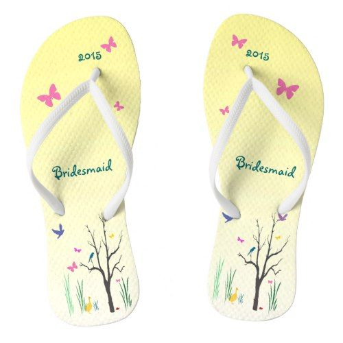 Springtime Wedding Bridesmaid Flip Flops