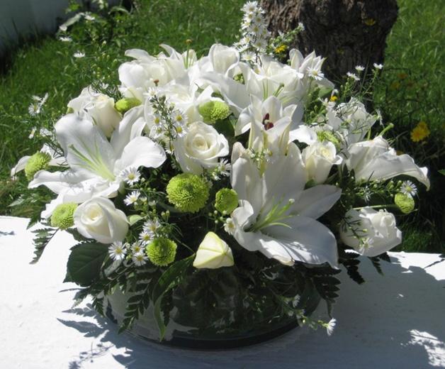 first communion white flower centerpiece