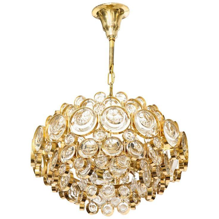 Palwa Gilt Brass Optic Glass Chandelier