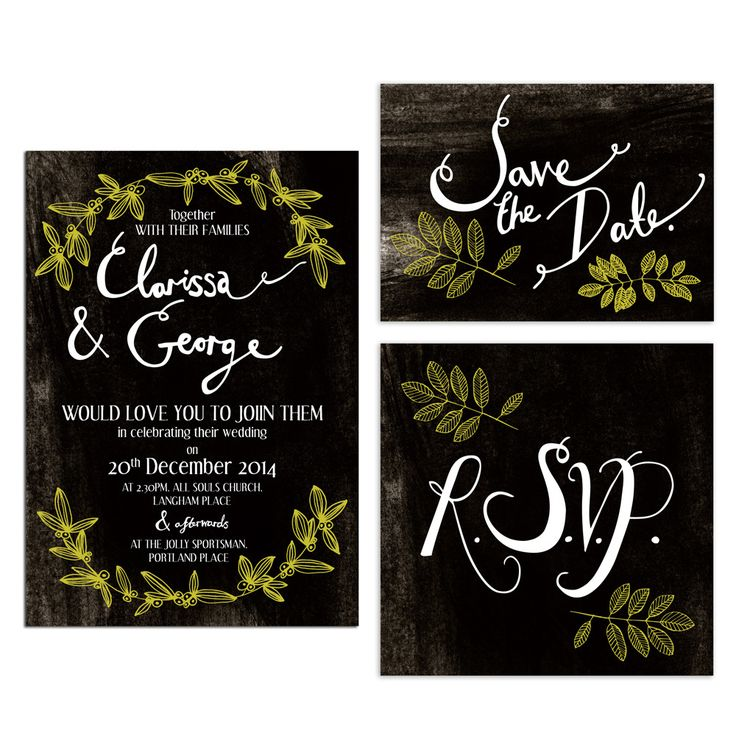 Hollyhock Lane Christmas wedding invitations with mistletoe motif