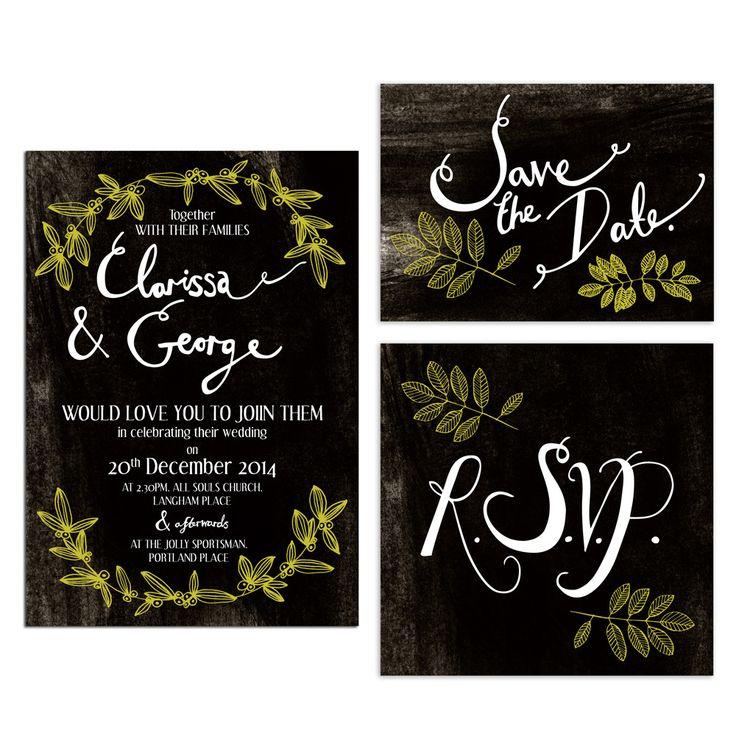 Hollyhock Lane Christmas wedding invitations with mistletoe motif