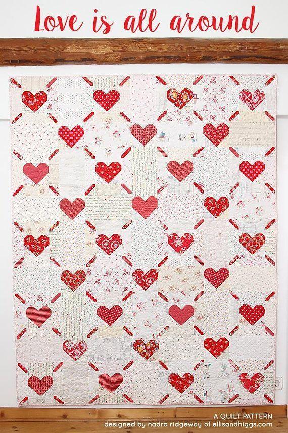 Pdf Valentine S Day Quilt Pattern Love Is All Around Heart Quilt
