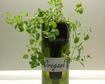 Bouteille de vin auto arrosage jardinière par WinelessCreations