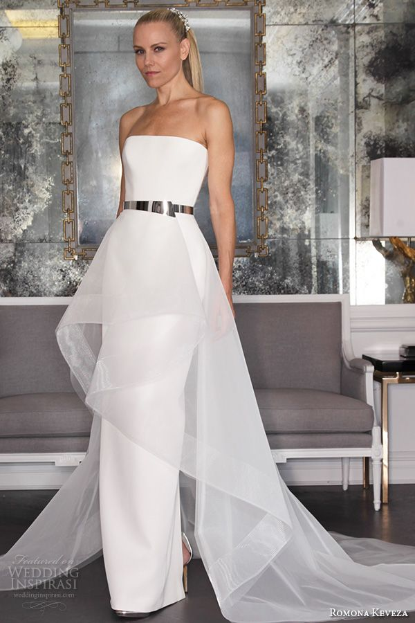 romona keveza fall 2016 luxe bridal strapless straight across neckline chic elegant simple sheath horsehair peplum wedding dress rk6460