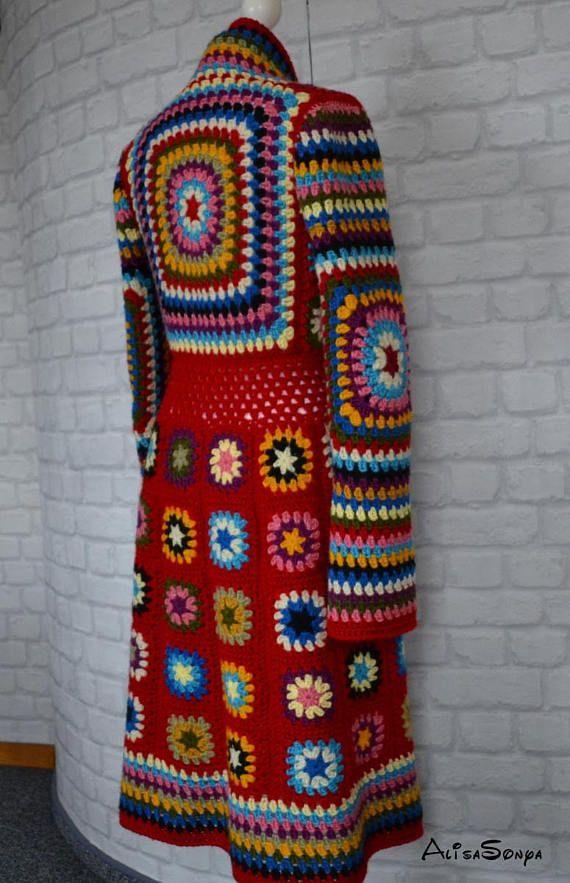 Crochet coat ,Jacket ,Granny square coat, Female cardigan ,Scarf ,Handmade coat …