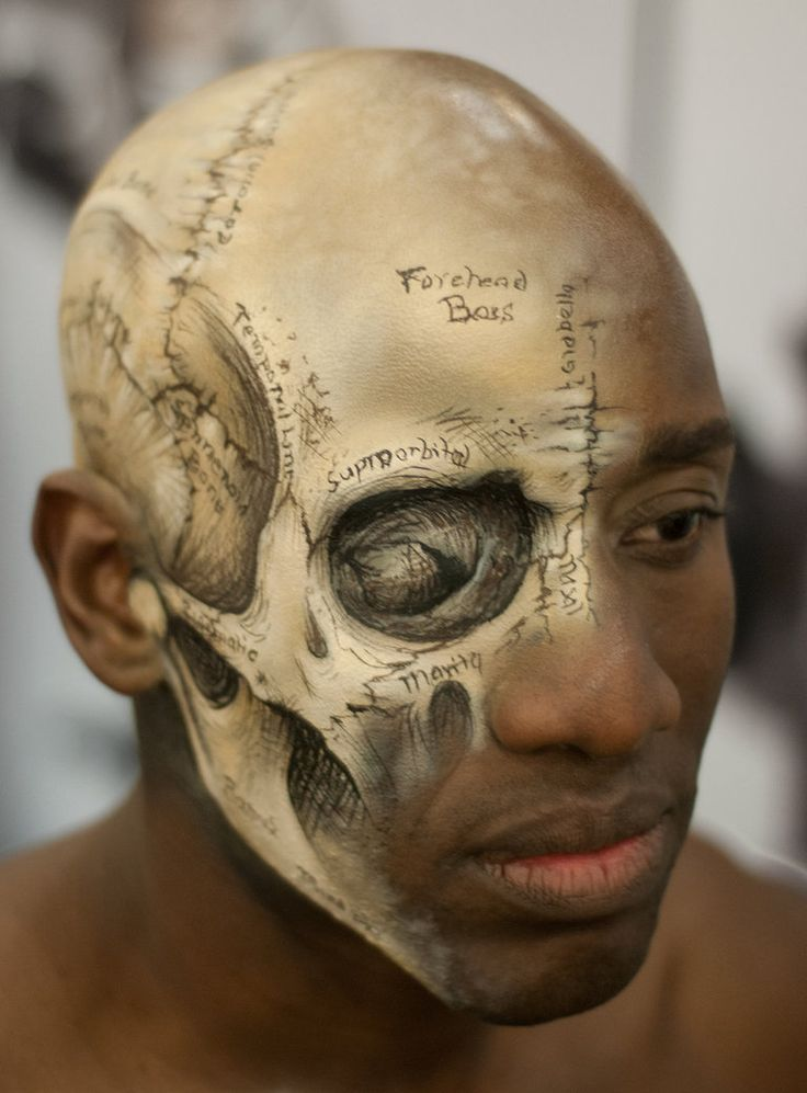 Medical illustration of the human skull painted directly onto a head by makeup artist, Lisa Berczel, for the International Make-Up Artist Trade Show in Los Angeles.