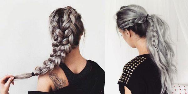 Silver is a gorgeous hair color, even more impressive on braided hair! Εντυπωσιακές πλεξούδες σε ασημί αποχρώσεις!