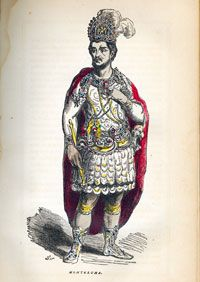 One of the more obscure portraits of Moctezuma II - from 'Indian Races of North and South America' by Charles de Wolf Brownell, published in 1864, p. 65