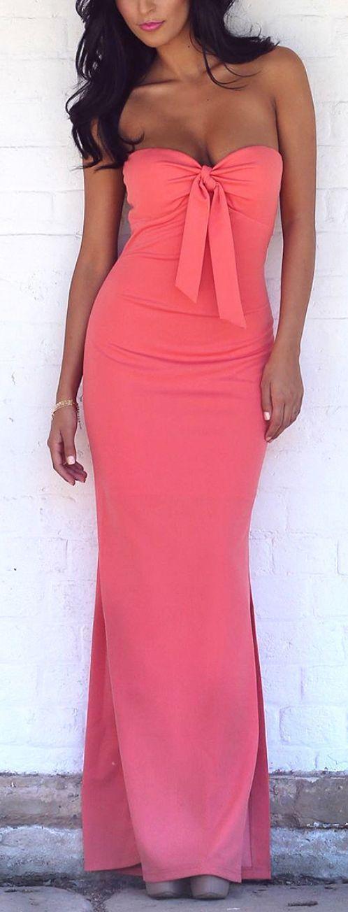 Coral Bow Maxi Dress ♥ for Bridesmaid..