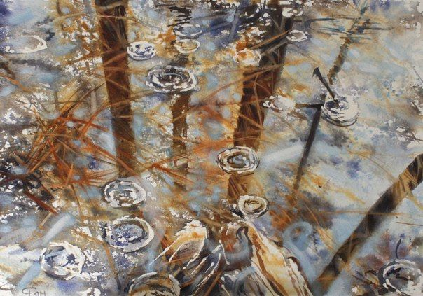 #watercolor#water#reflection#