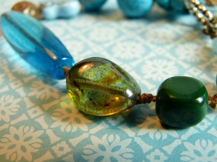 Turquois & Groen Geknoopte Armband Vlinder, Tsjechisch Glas, Keramiek & Sari zijde