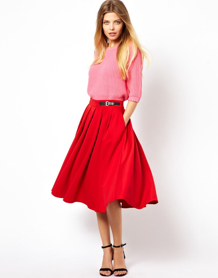 Scuba Midi Skirt With Kilt Buckles •	Made from a neoprene material •	High fitted waistband  •	Kilt style pin buckle strap  •	Full A-line shape  •	Stich pleats •	Zip closure to back  •	Regular fit Patterned Skirts, Embellished Skirts and Funky Skirts #fashion #beauty #skirts #clothing #apparel #HotMomma #HauteMomma #LifestyleMom #fashionmoms