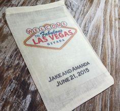 15 personalized Las Vegas wedding favor bags, destination wedding, Vegas wedding favors, Las Vegas welcome bags