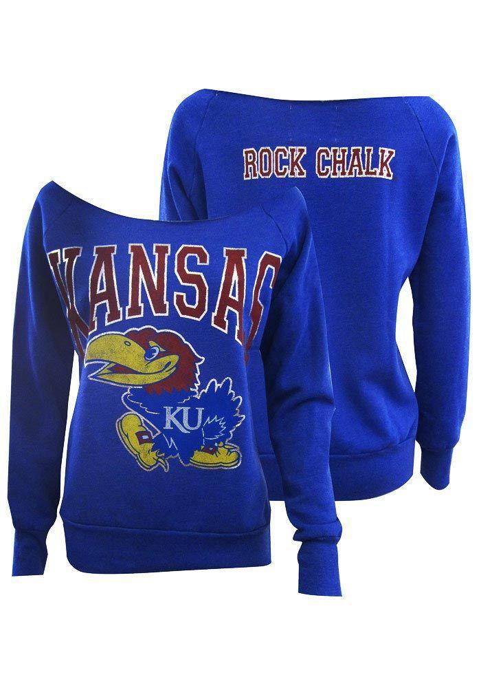 Kansas Jayhawks Fleece - Womens Blue Silver Foil Slouchy Fleece http://www.rallyhouse.com/shop/kansas-jayhawks-signorelli-kansas-jayhawks-fleece-womens-blue-silver-foil-slouchy-fleece-1962206 $54.99
