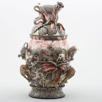 Ardmore Ceramics: Monkey Leopard Urn AAA