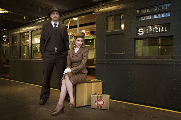 I love everything about this engagement session! Shot in the NYC Transit Museum, with vintage subway cars :D